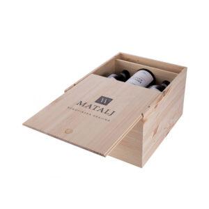 Деревянная упаковка для вина с гравировкой надписей и логотипа