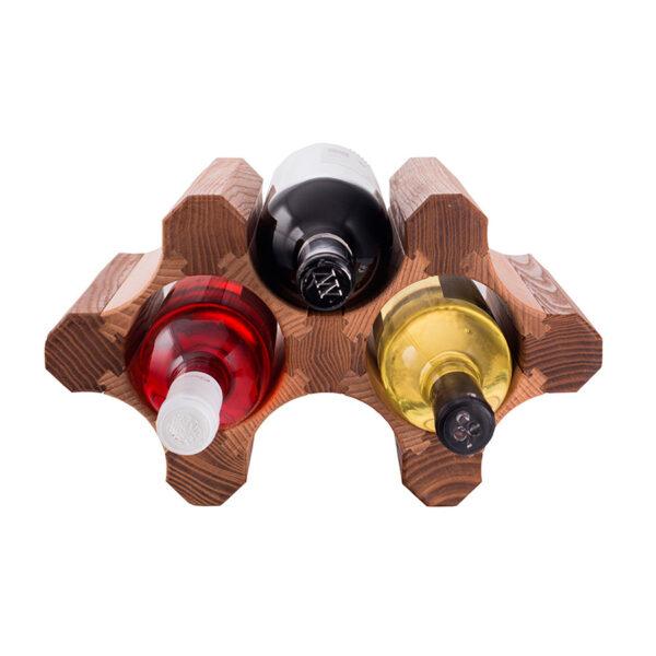 Винный стеллаж из дерева для 3 бутылок