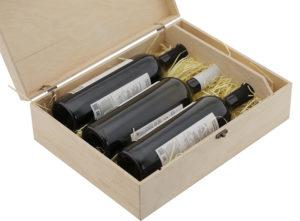 Упаковка для 3 бутылок вина натуральная