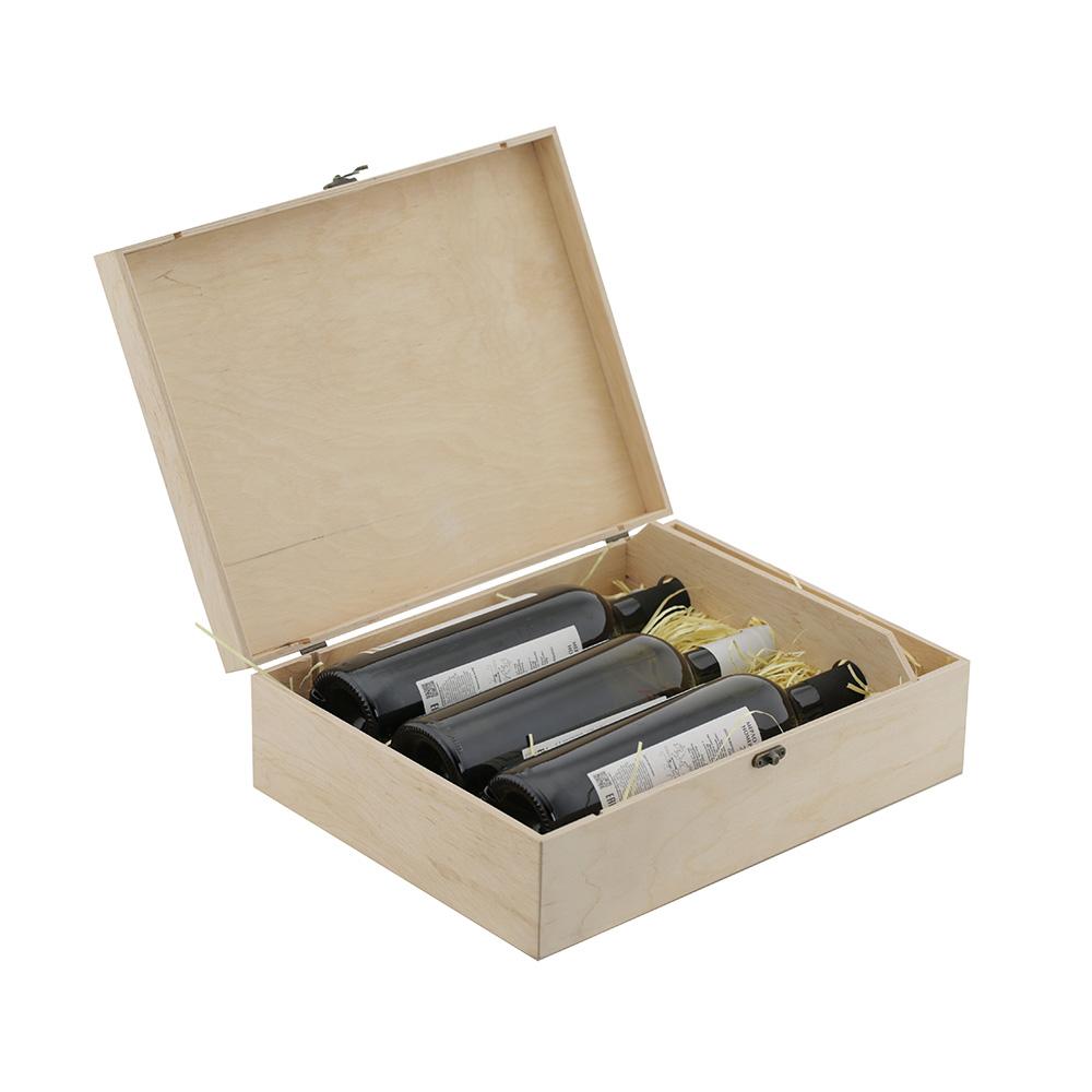 Коробка для 3 бутылок вина натуральное дерево