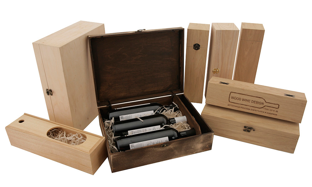 Подарочная деревянная упаковка для бутылок вина с лазерной гравировкой логотипа на заказ