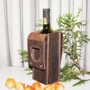 Кожаный чехол для бутылки вина купить